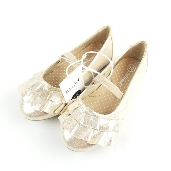 Gold Cat /& Jack Toddler Girls Mabelle Metallic Ballet Flats Brand New!!